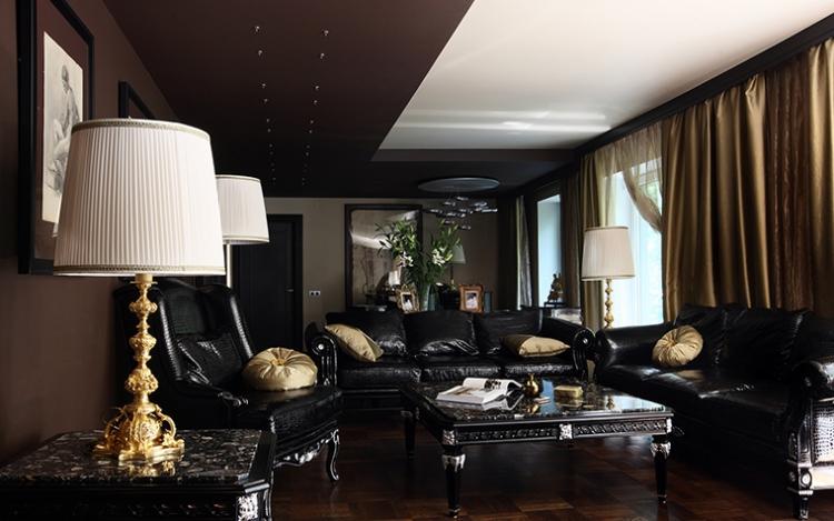 Dcoration salon moderne en noir pour un intrieur glamour