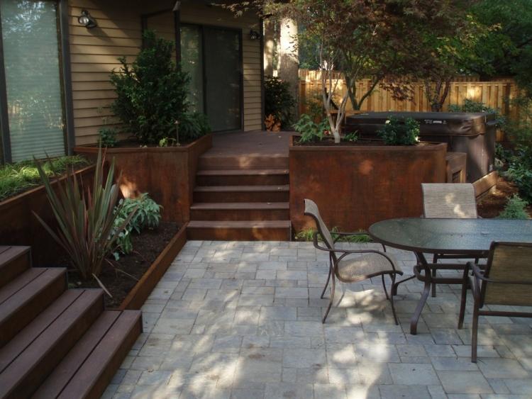 Design Exterieur Jardin Deco Cloture Acier Corten Applications ...