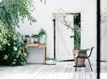 Mobilier scandinave vintage,briques blanches et plancher ...