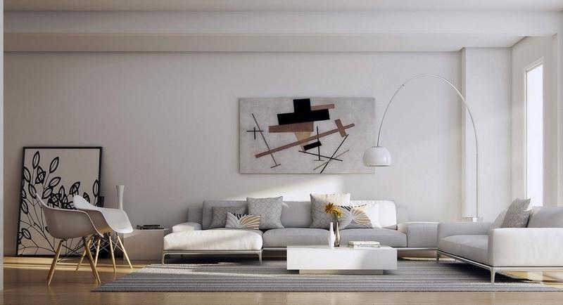 Tableau moderne grand format dans le salon en 32 ides dco