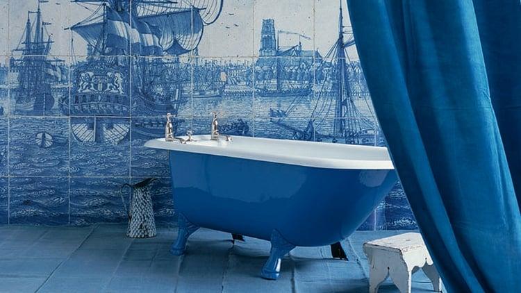 Carrelage salle de bain bleu  ides dsobissant  la banalit