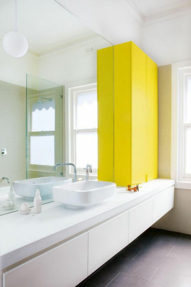 Ides dco salle de bain en blanc et jaune en 20