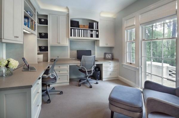 home office computer desks for two people Agencement bureau moderne - idées, déco et photos