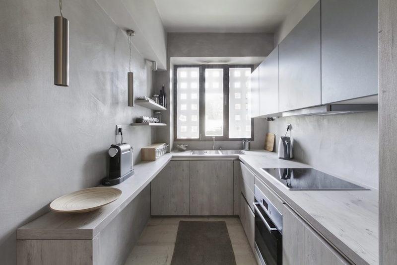 Peinture gris perle et meubles blanc cass en dco mini studio