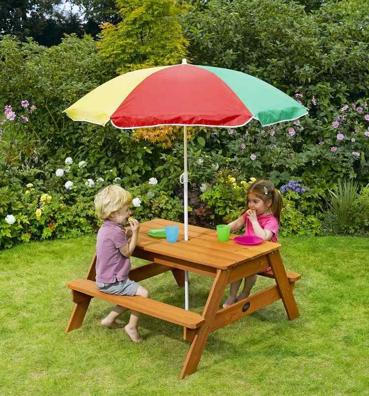 Table Bois Avec Banc Integre