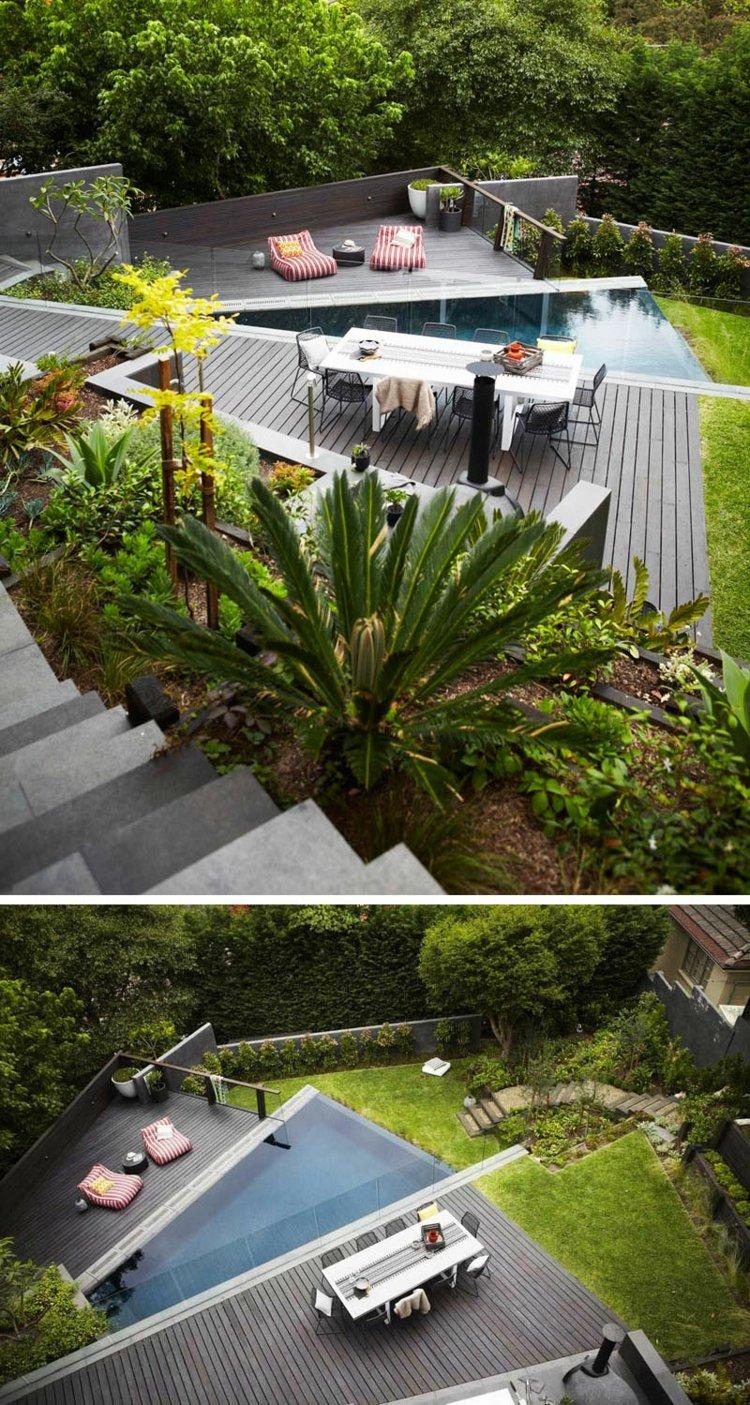 Terrasse sur terrain en pente en 10 ides damnagement moderne