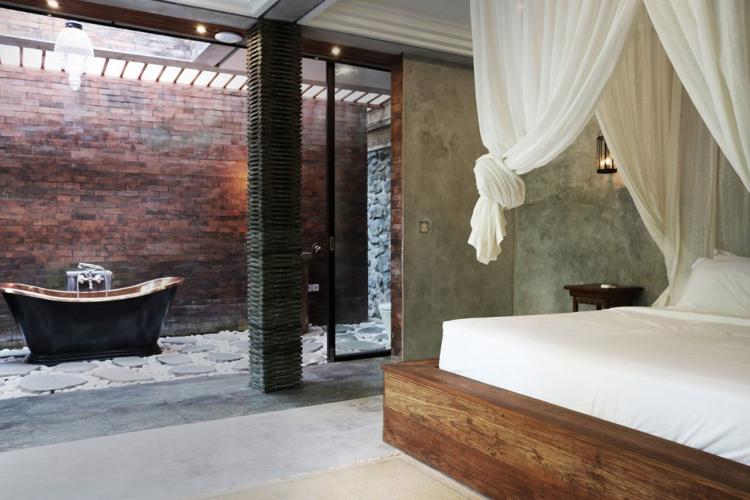 Terrasse bois exotique revtement en teck et parement pierre de lave