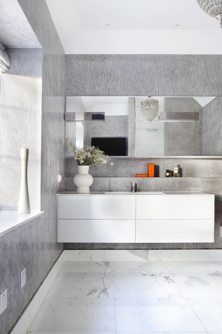 Salle de bain bton cir tendance pour donner nouveau look  lespace