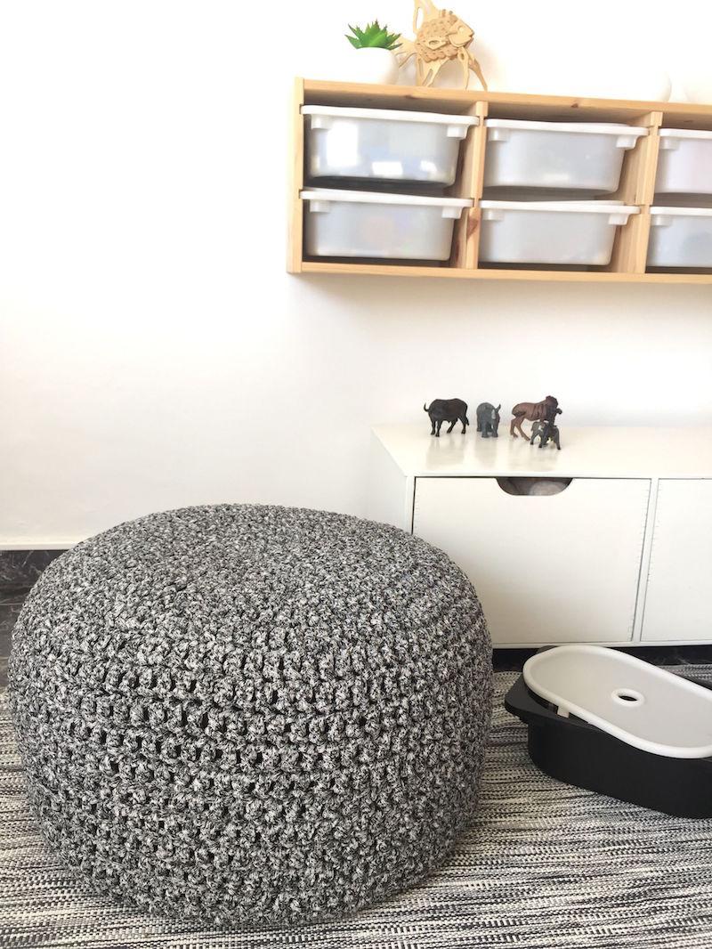 Pouf gant tricot et marocain lments dco salon ou chambre enfant