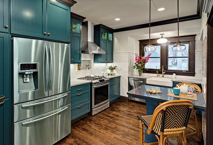cuisine bleu canard et bois pour se