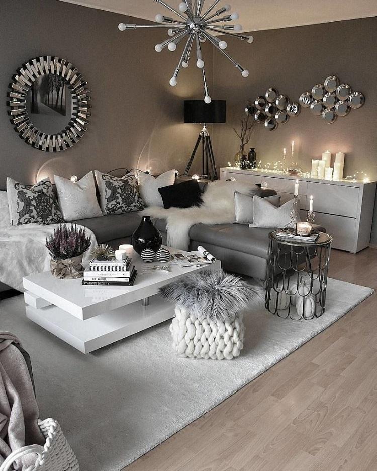 salon blanc et gris un tas de