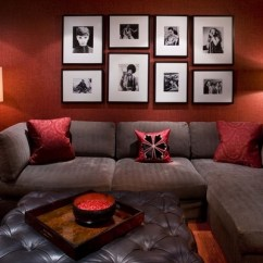 Living Room Decorating Ideas Picture Frames Dark Blue Sets How To Arrange A Photo Wall Tips And Creative Red Color Frame Decoration Gray Sectional Sofa
