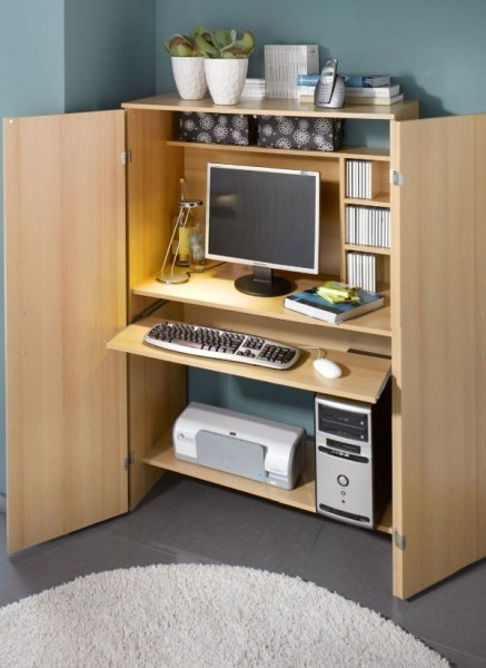 space saving home office idea Computer armoire – a useful furniture piece for a small home office