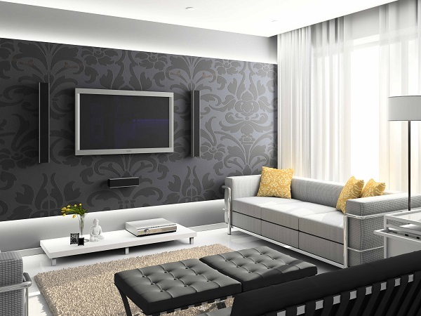 black and white wallpaper ideas for living room decorating with dark furniture 15 types styles of wallpapers