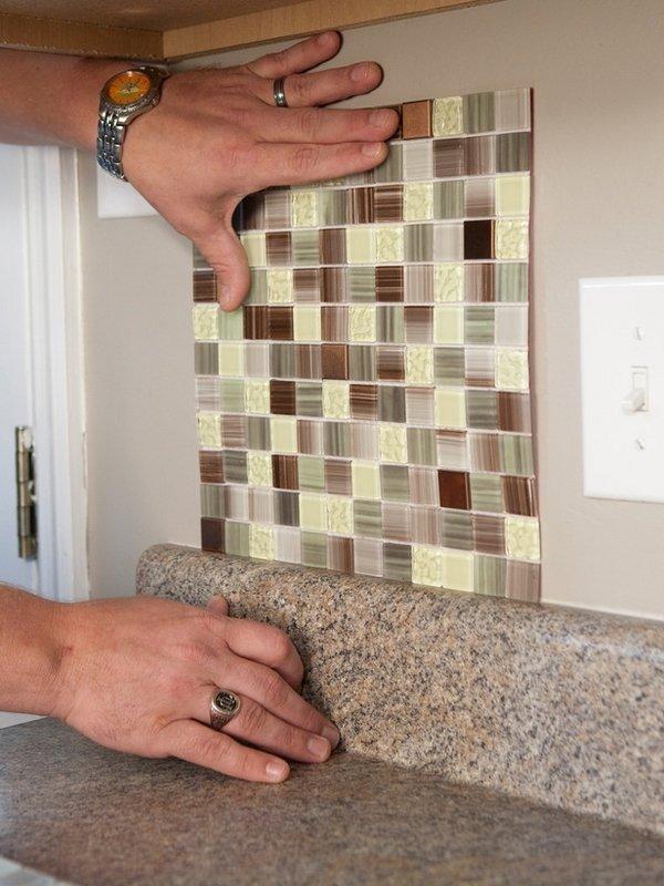 Self adhesive backsplash tiles  save money on kitchen