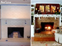 Brick fireplace makeover  before and after ideas and cool ...