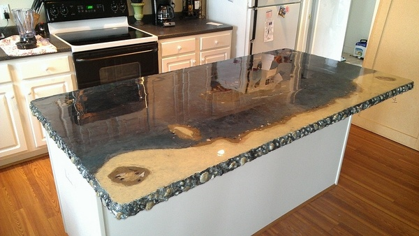 concrete kitchen countertops island Stained concrete countertops – ideas and basic techniques