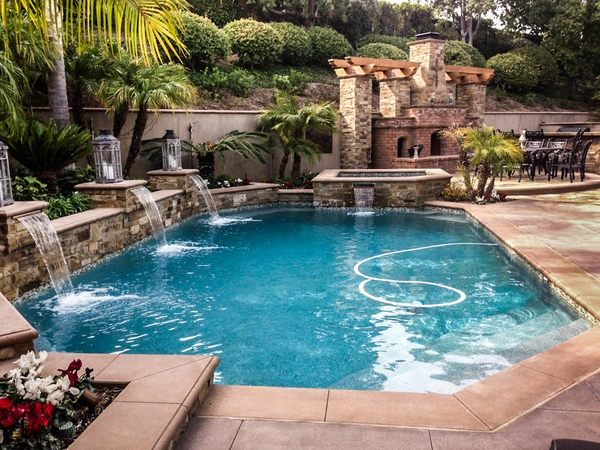 Unique pools with waterfalls  cool water features for the