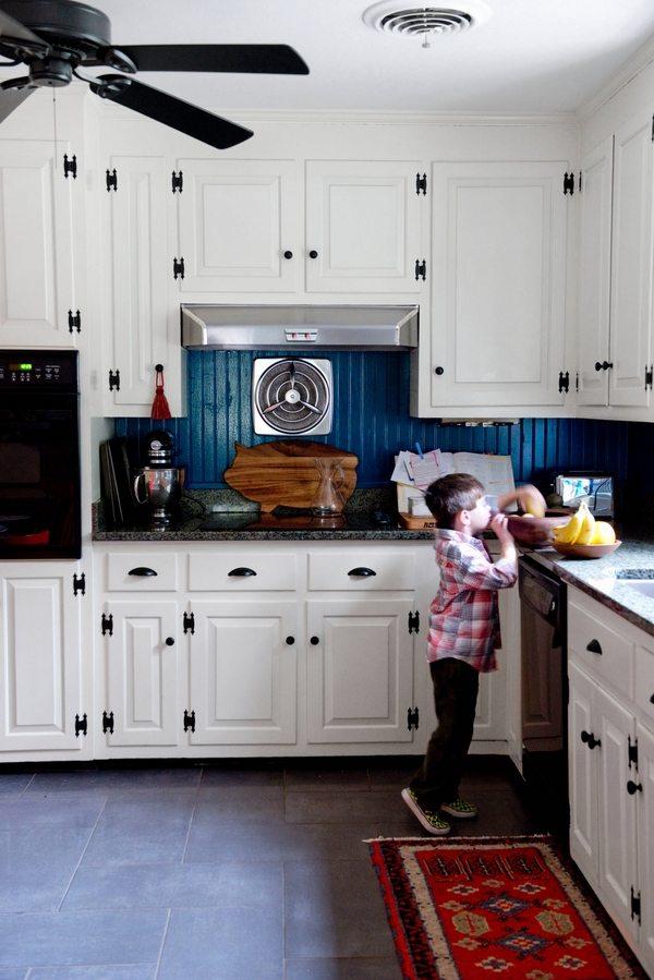 navy blue kitchen decor facelift choosing the perfect backsplash – beadboard ...