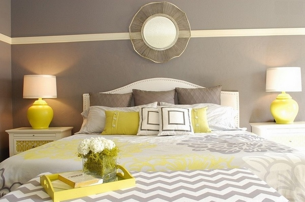 yellow and gray accent bedroom Grey and yellow bedroom interior - trendy color scheme for your home