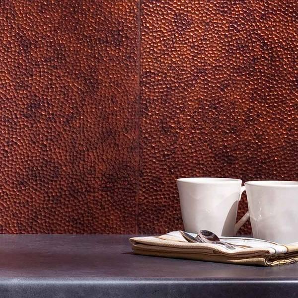 Copper backsplash for a distinctive kitchen with unique