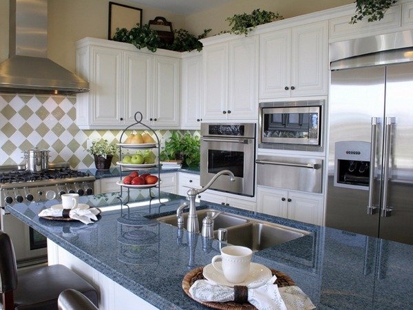 white kitchen cabinets blue countertops Fascinating blue granite countertops in modern and