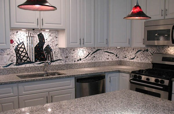 white kitchen with grey granite What are suitable cabinet colors for grey granite countertops?