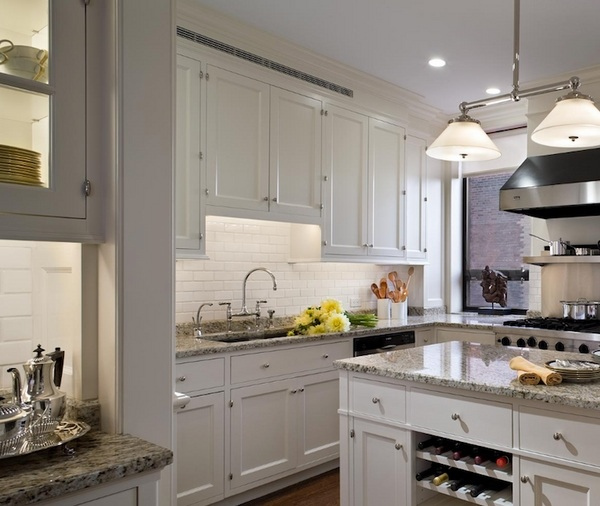 white kitchen with grey granite Modern gray granite countertops – trendy and elegant