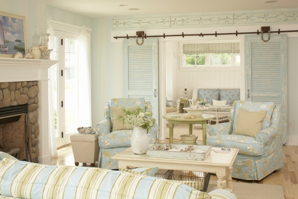 coastal design living room curtain for small decor ideas invite the summer vacation mood in your home beach style striped upholstery barn doors