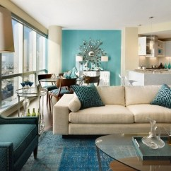Teal Accents Living Room Home Interior Design Ideas Trendy Interiors In A Bold Color Contemporary Open Plan Accent Wall White Sofa Armchair