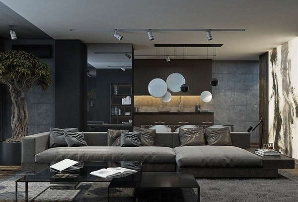 modern gray living room furniture sets power reclining black and grey ideas home interiors in dark tones