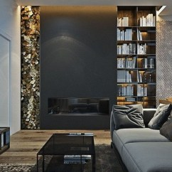 Living Room Design With Grey Sofa Accent Table Black And Ideas Modern Home Interiors In Dark Tones