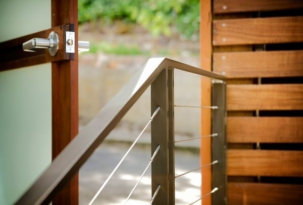 Cable Railing Ideas – Cable Deck Railing And Staircase Design | Wood And Cable Stair Railing | Dark | Diy | Exterior Irregular Stair | Residential | Forgings