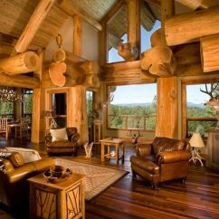 Log Cabin Living Room Decorating Ideas Tropical Style Interiors Beautiful Rustic Design And Decoration Leather Armchairs Side Tables