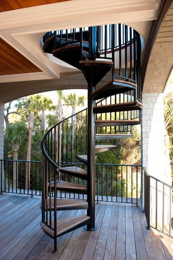 Outdoor Spiral Staircase Designs To Complement The House Exterior | Spiral Staircase Outdoor Deck | Log | Portable Rectangular Concrete | Metal | Porch | Black
