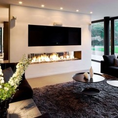 Contemporary Living Rooms With Fireplaces Room Wood Burner Ideas Chic Linear Fireplace Modern Great Visual Appeal Design Accent Wall