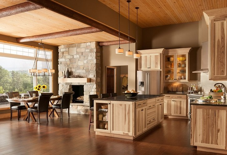 rustic hickory kitchen cabinets gel mat solid wood furniture ideas