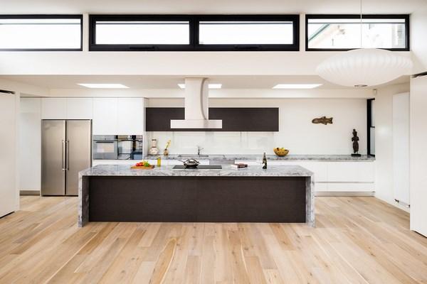 modern waterfall kitchen island countertop Waterfall countertop design ideas –modern kitchens with sleek appearance