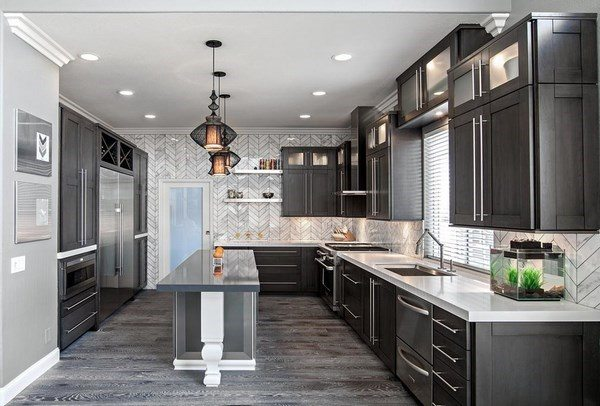 Grey hardwood floors in interior design and cool color