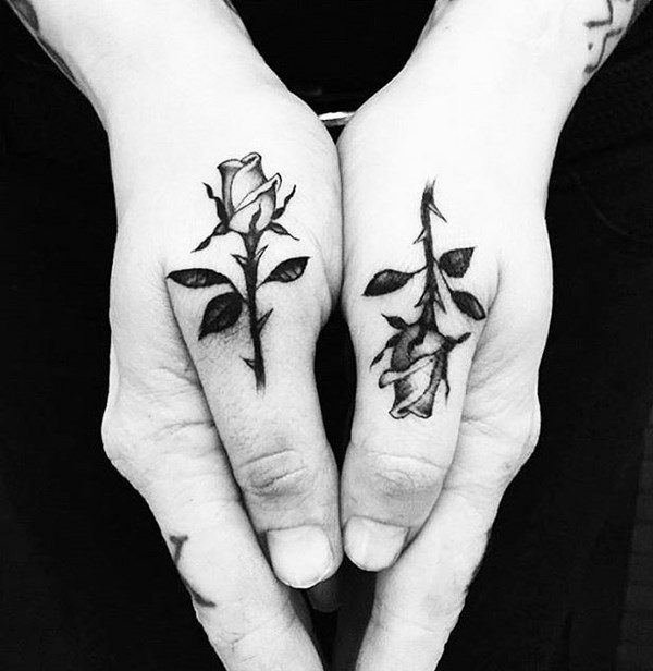 Rose Tattoo On Hand Design