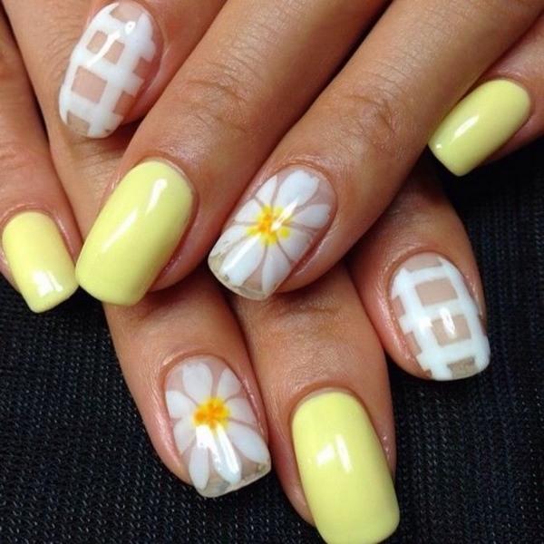 Daisy nail art ideas  cute summer nail designs with