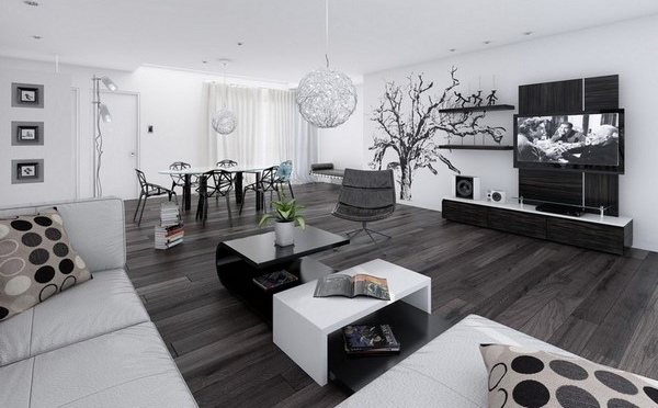 modern interior design living room black and white suede furniture interiors stylish ideas awesome home decor tips