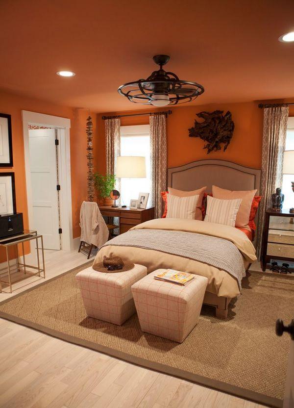 Orange bedroom interior design ideas  add a summer vibe