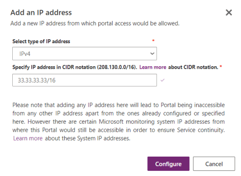 Restrict Portal Access by IP address