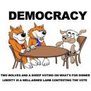 Democracy - Two wolves and a sheep voting on what's for dinner. Liberty is a well-armed lamb contesting the vote.
