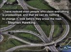 Stephen Hawking - I have noticed even people who claim everything is predestined, and that we can do nothing to change it, look before they cross the road.