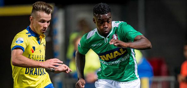 LEEUWARDEN, SC Cambuur - FC Dordrecht, Eredivisie, Voetbal, Cambuurstadion, Seizoen 2014 / 2015, 04-10-2014, (L-R) SC Cambuur speler Oliver Feldballe, FC Dordrecht speler Everon Pisas.