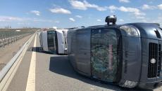 Microbuze răsturnate pe Autostrada A1 Timișoara - Arad