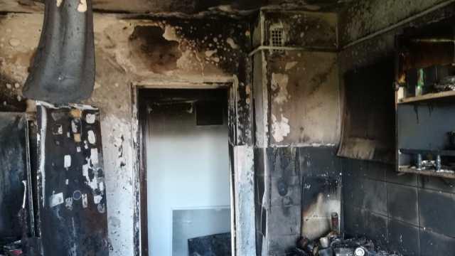 Apartament distrus de flăcări în Arad