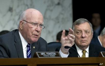 Sen. Patrick Leahy D-Vt., left, accompanied by Sen. Dick Durbin D-Ill., questions Homeland Security Secretary Kirstjen Nielsen …